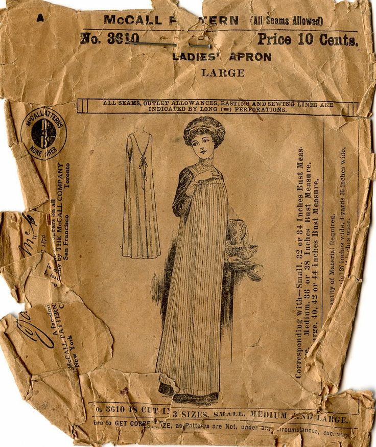 Unsung Sewing Patterns: McCall 3610 - Ladies' Apron from about 1910. Interesting cut on the back