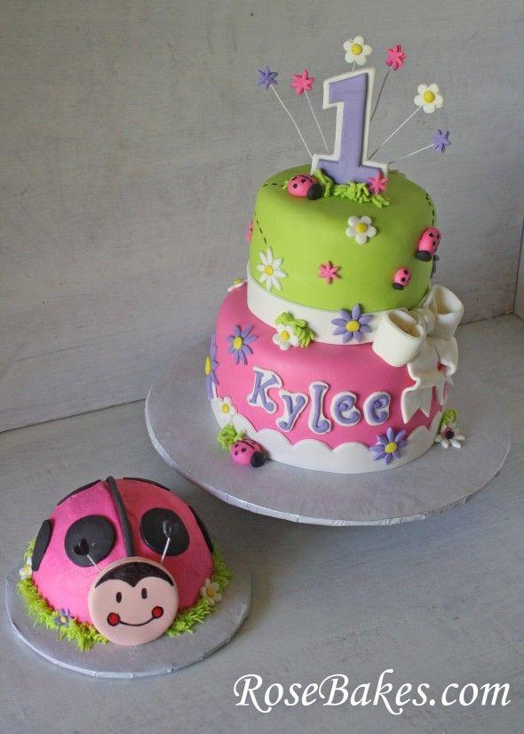 Oh So Sweet Pink Ladybug Cake and Smash Cake.  SMASH CAKE IS A MUST!!!