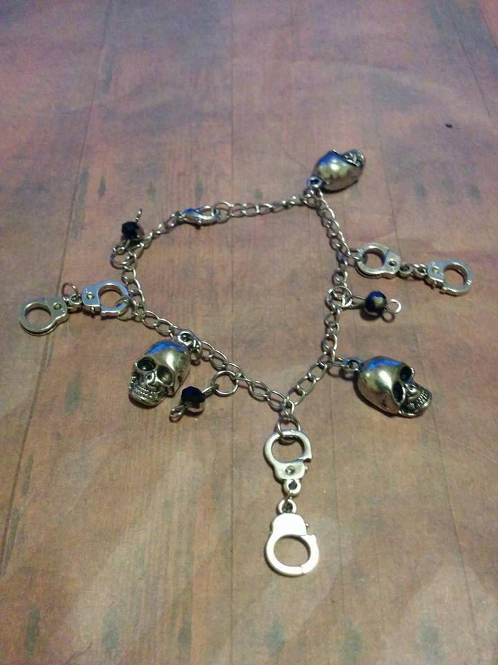 Skull handcuff charm bracelet - biker - rocker - heavy metal - crystal bead - chain bracelet - beads - charms - jewelry - handmade - sale by Blackrose37 on Etsy