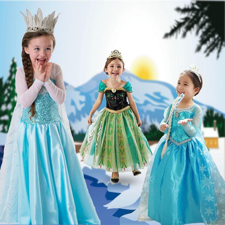 Girls Girl Summer Frozen Anna Coronation Dresses Party Princess Elsa Dress Vestidos De Menina Costume Cosplay Fantasia Clothes-in Dresses fr...
