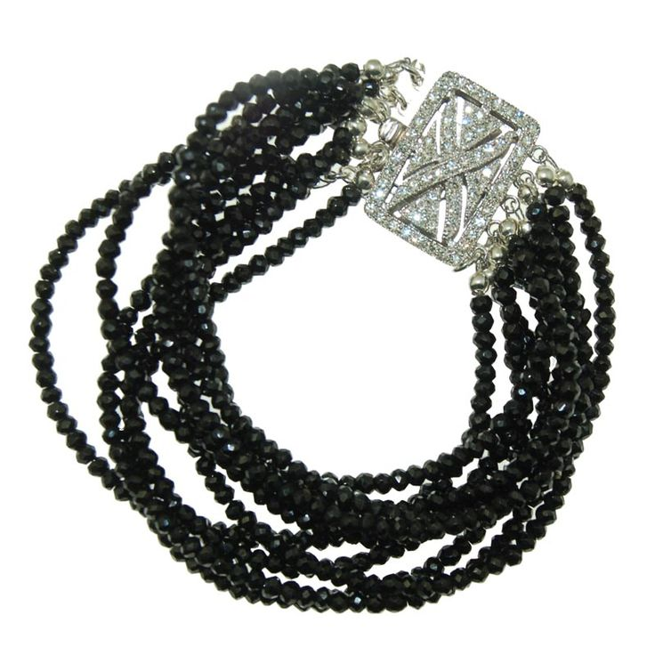 Black Spinel Bracelet with Silver Clasp (B356R) $500