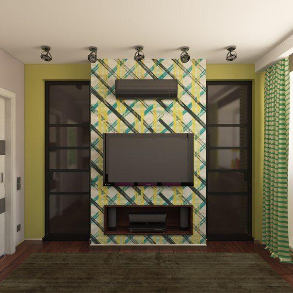 """Небольшая квартира на """"Речном вокзале"""" #спальня, #яркая, #зеленый, #обои, #маленькая"""