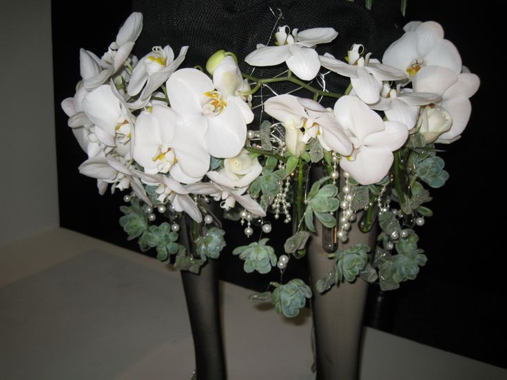 Phalaenopsis Orchids, Succulents , Silver Wire & Beads