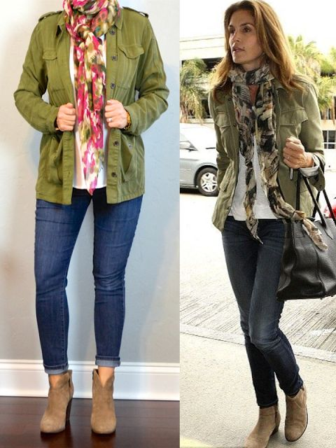outfit post: green military jacket, skinny jeans, ankle boots, floral scarf   Outfit Posts