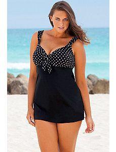 Plus-Size Polka Dot Swim Dress, Sizes 12-22W| ElegantPlus.com Editor's Pick