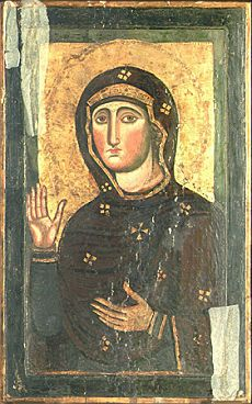 """Santa Maria in Aracoeli, Colle Capitolino, Roma. La Basilica è sorta sul luogo dell'antico Auguraculum, ovvero il pianoro da dove i sacerdoti romani traevano, mediante l'osservazione del volo degli uccelli,  gli auspici. A questo tipo di raffigurazione sono stati dati diversi nomi: - AGHIOSORITISSA, perché l'originale si trovava nel santuario nel quale era custodita l'Aghia Soros, """"Sacra Urna"""" nella quale era conservata la cintura della Vergine. - CHALCOPRATISSA, perché il santuario di…"""