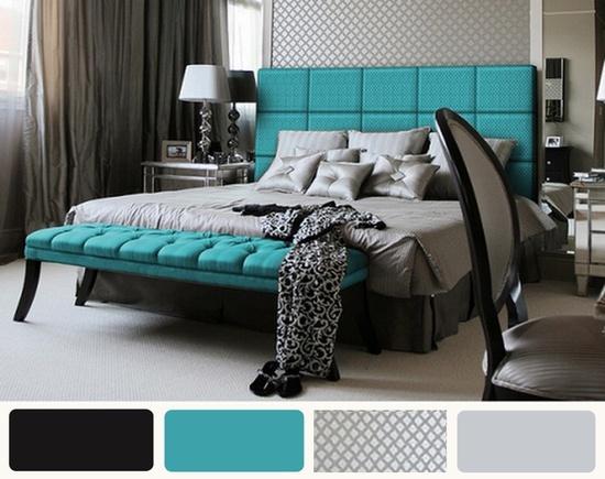 Retro Gray Black And Turquoise Bedroom Ideas : Retro Gray Black And Turquoise Bedroom Ideas Picture
