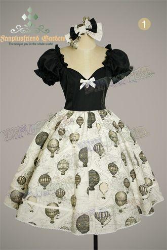 Fire Balloon Adventure Steampunk Lolita: Corset Lacing Up Dress& Bowknot Headdress*4colors Instant Shipping