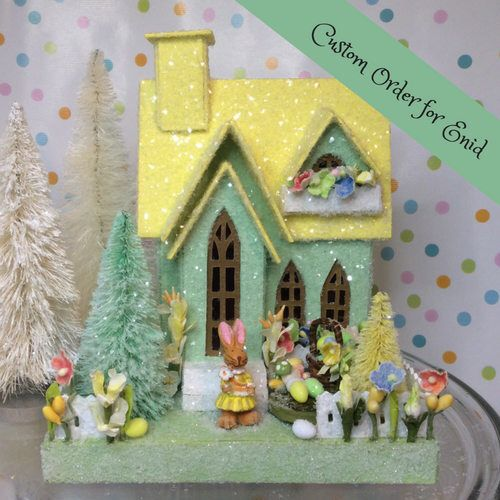 Custom order for Enid Easter Putz Cottage(Medium) Jadeite Green and Yellow by glitteratmidnight on Etsy https://www.etsy.com/listing/594738775/custom-order-for-enid-easter-putz
