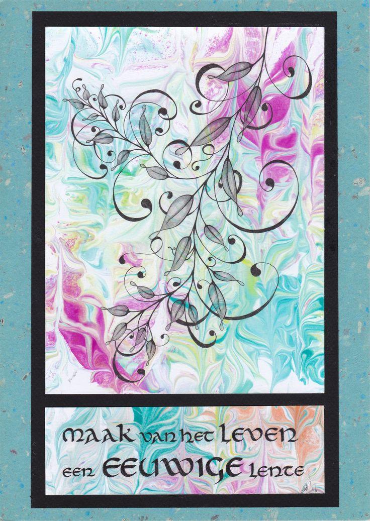 Tak met bladeren is idee van Helen Williams. Papier gemarmerd mbv scheerschuim. Kalligrafie door Nicole Adriaensen-Martens