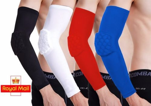 Men #honeycomb crashproof basketball #shooting arm sleeve elbow #running support,  View more on the LINK: http://www.zeppy.io/product/gb/2/152156979223/