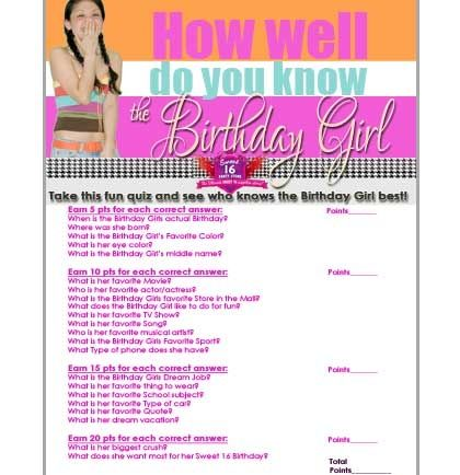 FREE Sweet 16 Birthday Girl Quiz | Sweet 16 Party Store