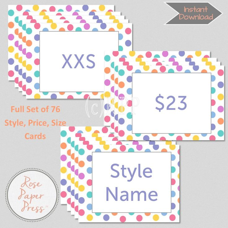Marketing Kit, Large Polka Dots | Set of 76 Size, Price, & Style Cards | Printable Cards | Instant Digital Download by RosePaperPress on Etsy