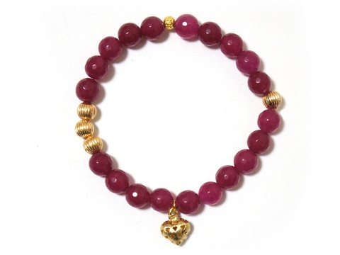 Agate FACETED round Beads polished Gemstone Plum Purple Pink bracelet with Heart charm