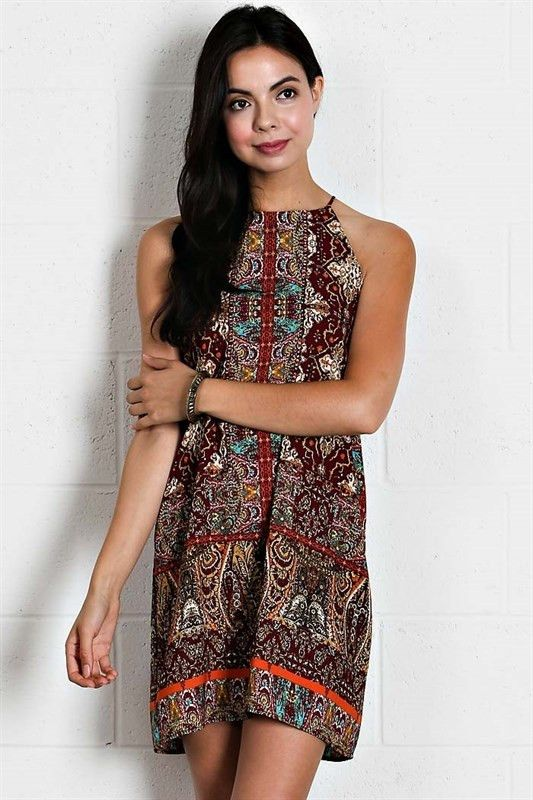 Burgundy Batik Style Shift Dress