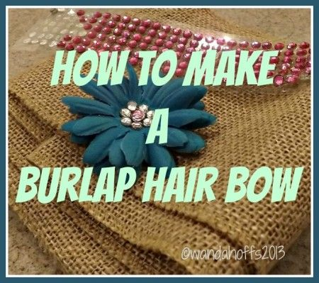 Premeditated Leftovers: How to Make a Burlap Hair Bow - follow these steps to make a burlap hair bow for your little girl. A fast, easy, & frugal way to create a hair bow.