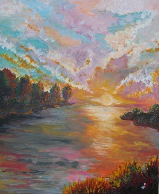 « Rabat-Jour », peinture, acrylique, soleil, rivière, soir, crépuscule