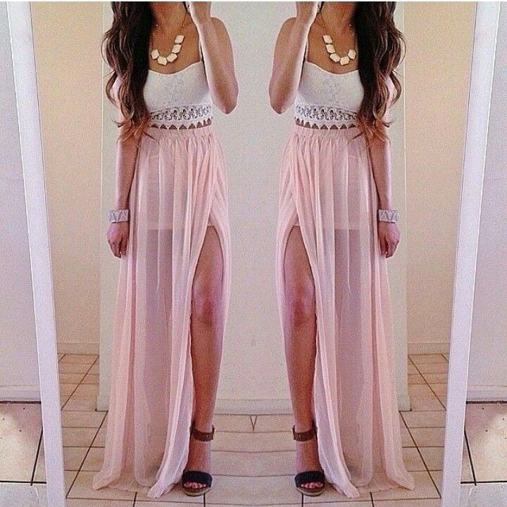 Pale pink maxi skirt – Modern skirts blog for you