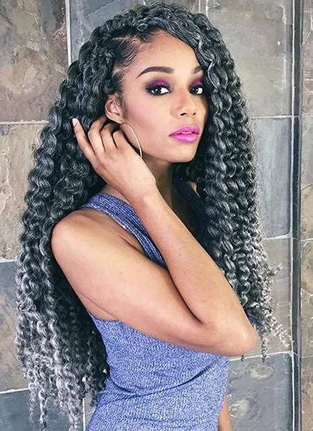 Long, Grey Twist Out Crochet Braids