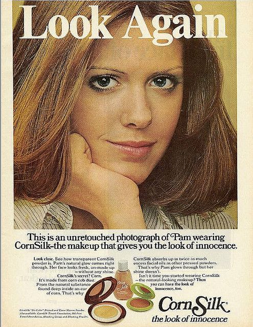 Interesting makeup ad from 1973 featuring actress Pam Dawber. I still don't see eye veins, do you?   Interesting that photo retouching was prevalent in the 1970's...
