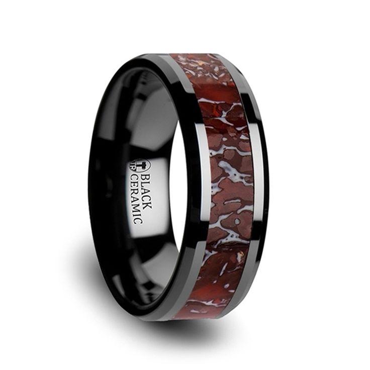 Red Dinosaur Bone Inlaid Black Ceramic Beveled Edged Ring - 4mm & 8mm