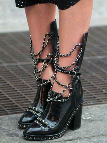 Chanel boots - #streetstyle Spring 2014 Fashion Week
