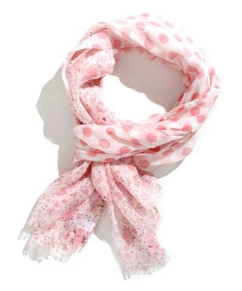 Off-White & Orchid Polka Dot Scarf