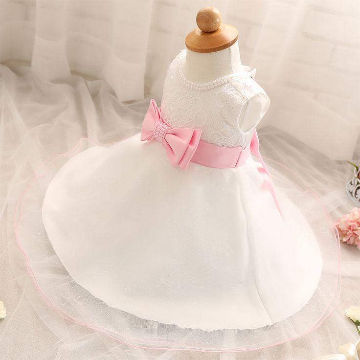 Cute Princess Dresses For Girls Infant Sleeveless Diamond Beading 1 Year Birthday Vestido Newborn Baby Girl Baptism Clothes