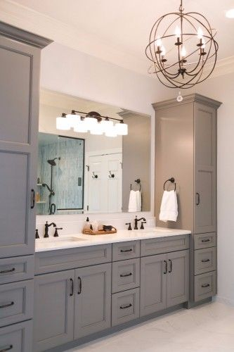 Grey master vanity with two towers, undermount sinks, antique bronze faucets and hardware, and quartz countertops.