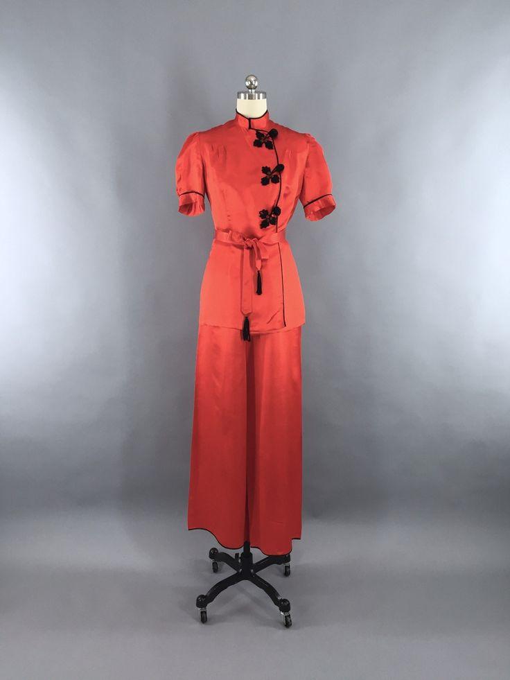 Vintage 1930s Pajamas / Red Silk Satin Loungewear Set