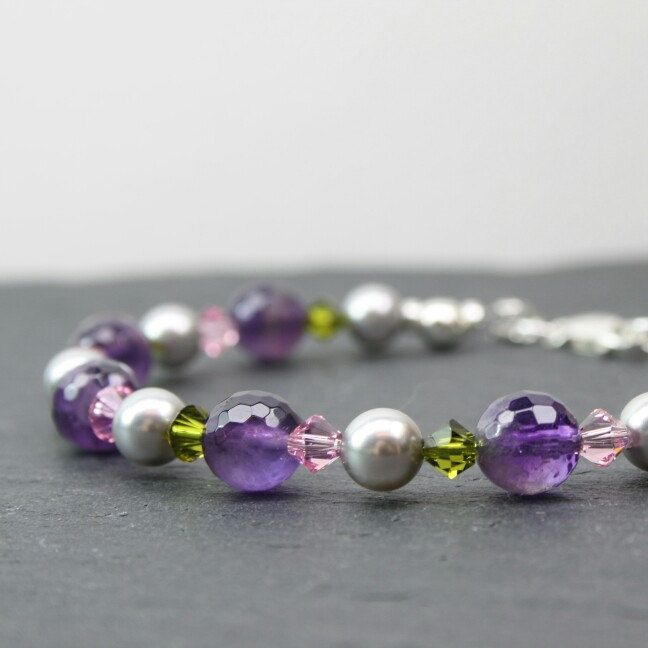 Beautiful Faceted Amethyst Gemstone Bracelet with Silver Grey Swarovski Pearls and Pink and Green Swarovski Crystals. Amethyst is said to be a Powerful and Protective Healing Stone.