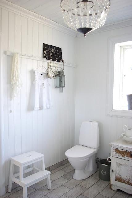 White Interior, Rustic Bathroom