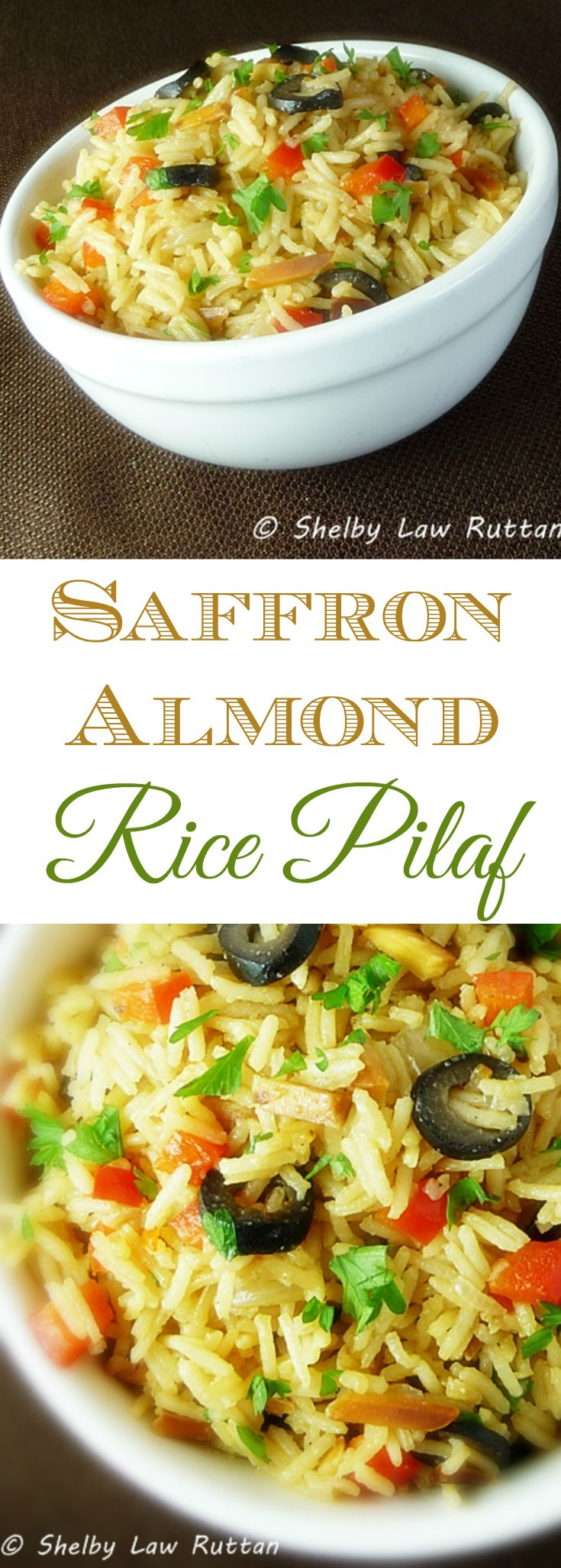 Saffron Almond Rice Pilaf, full of flavor, texture, and color, this recipe is a perfect holiday side dish!