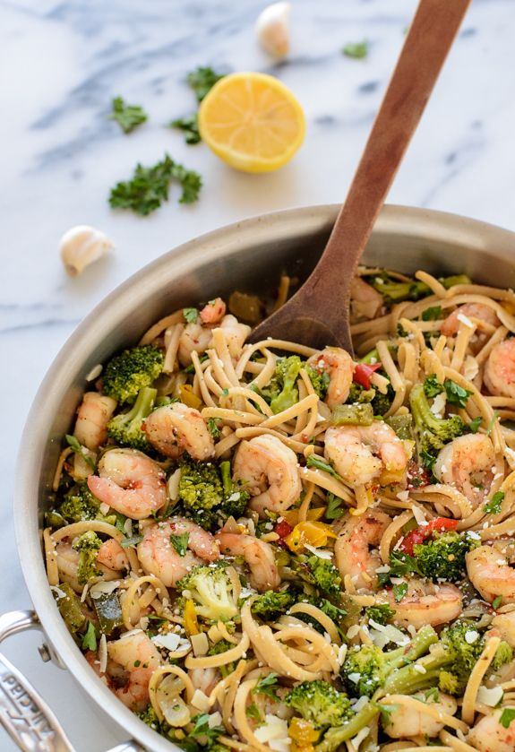"""Skinny Shrimp Pasta with Garlic and White Wine - make it even better by slicing zucchini into thin """"noodles"""" and cooking it with your shrimp. Yum!!"""