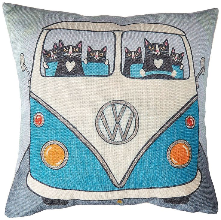 """AmazonSmile: Kingla Home® Cotton Linen Square Decorative Throw Pillow Covers 18""""x18"""" Retro Bus With Cute Little Cats Couch Cushion Covers: Home & Kitchen"""