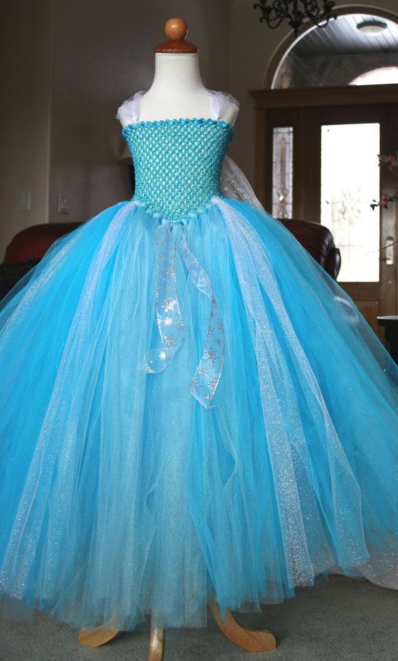 Girls 6 7 8 Disney Frozen Snow Queen Elsa Tutu Costume Dress and Optional Removable Train on Etsy, $127.00