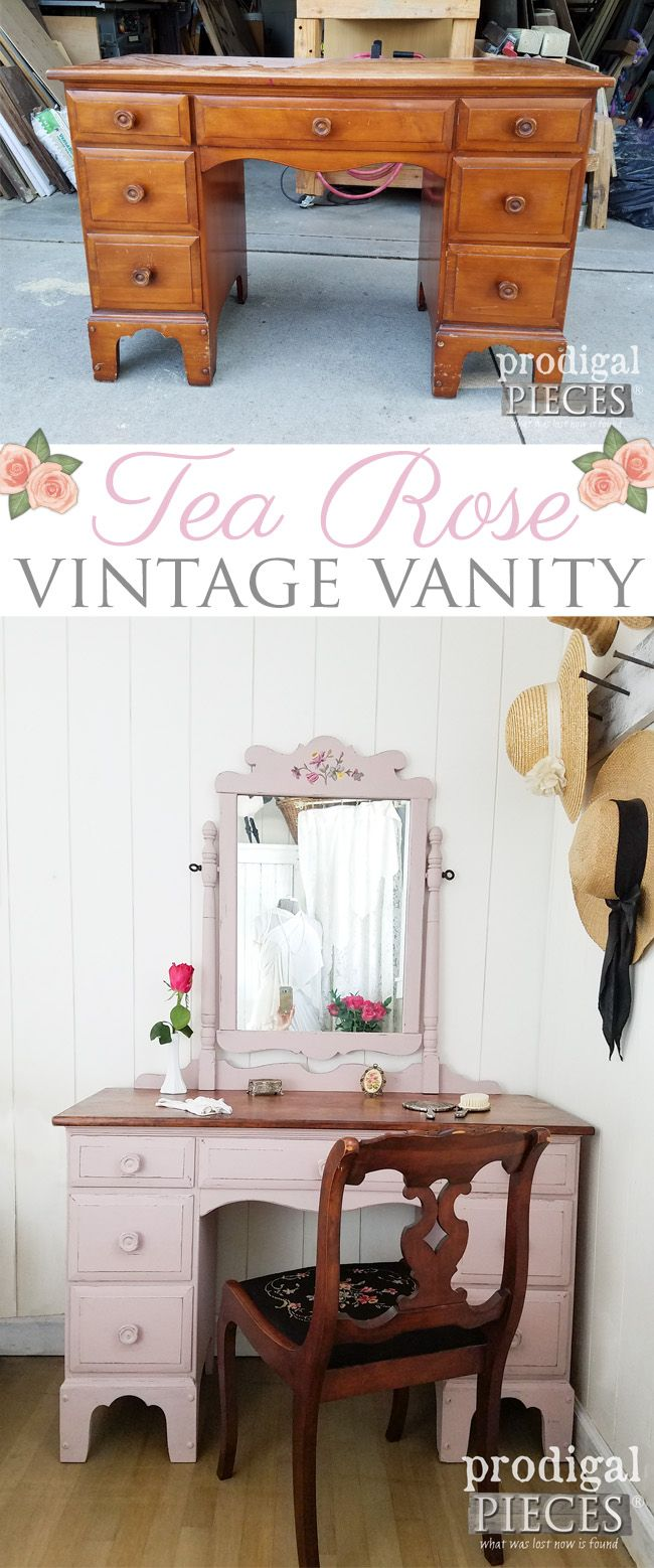 A cast-off mirror and vintage vanity painted in a Tea Rose Pink for a makeover you don't want to miss. See more at Prodigal Pieces | prodigalpieces.com