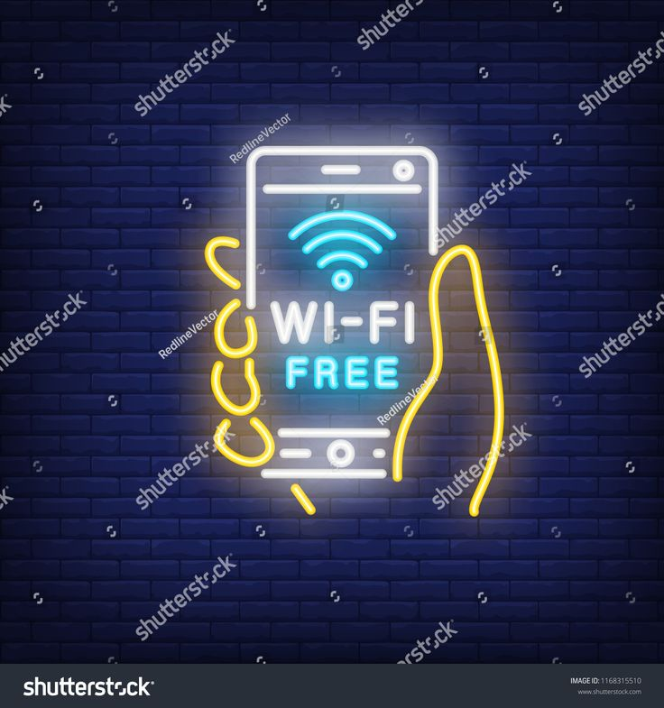 Hand holding smartphone with wi-fi free neon text. Wifi, communication, technology. Advertisement design. Night bright neon sign, colorful billboard, …