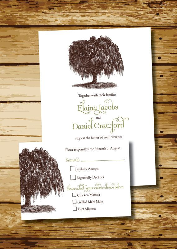 Vintage Willow Tree Wedding Invitation and Response Card