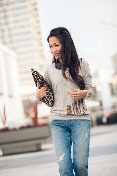 Little Cuties :: Meerkat sweater and leopard clutch.