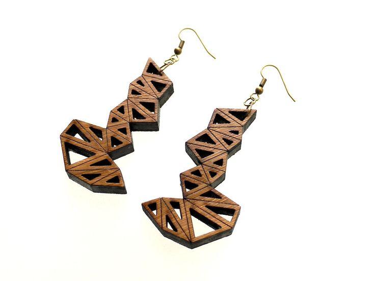 wood jewelry eco friendly modern jewelry, geometric - Bamboo , via Etsy.