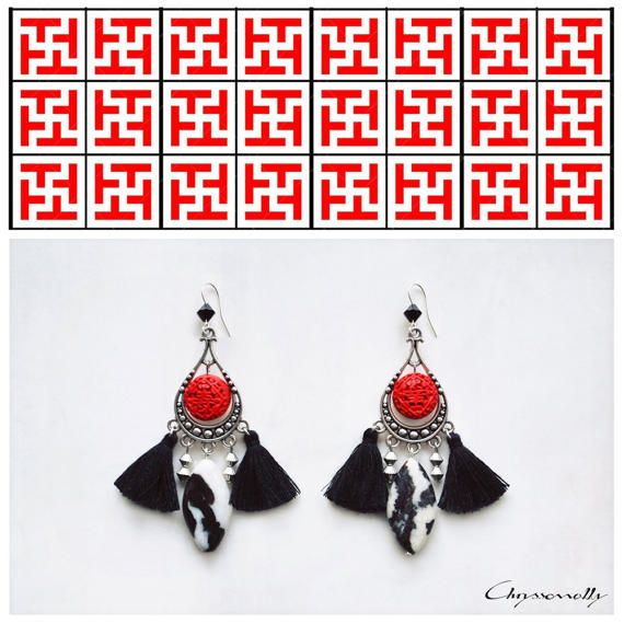 CGC028 - Chryssomally ethnic chic silver earrings with red acrylic cinnabar, black and white jasper stones, black Swarovski crystals and black tassels.