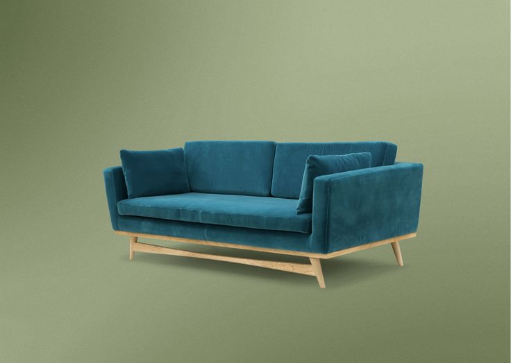Canap design 210cm velours bleu canard salon for Canape bleu canard