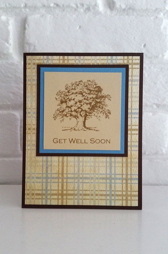 Masculine Get Well Soon Hand Made Card by LaurasPaperCreations