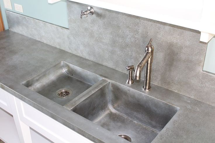zinc countertop and sink mottled finish Sinks - 103