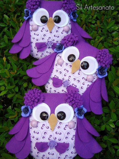 Purple Owls  -  adorable!
