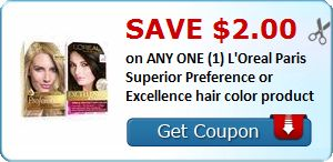 New Coupon!  Save $2.00 on ANY ONE (1) L'Oreal Paris Superior Preference or Excellence hair color product - http://www.stacyssavings.com/new-coupon-save-2-00-on-any-one-1-loreal-paris-superior-preference-or-excellence-hair-color-product/