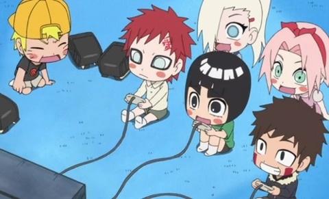 Naruto, Kiba, Gaara, Lee, Ino, and Sakura. ( MAYBE THEY ARE PLAYING A NARUTO…