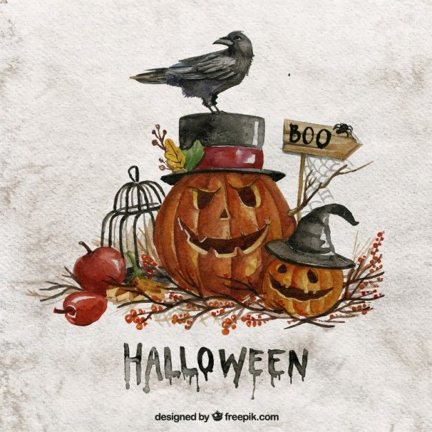 Watercolor halloween pumpkins Vector   Free Download