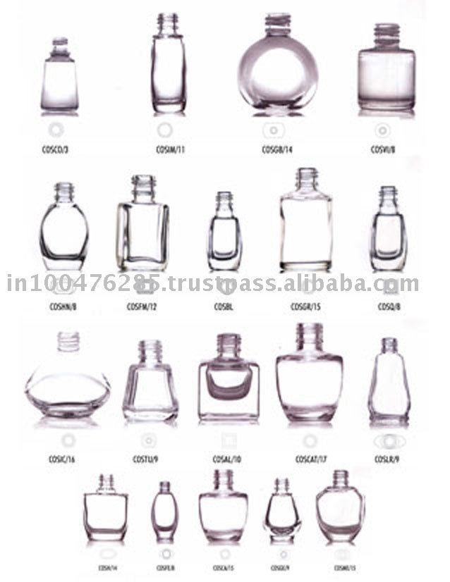 Empty nail polish bottles